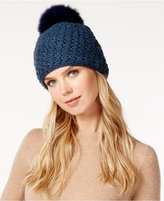 Surell Star Stitched Knit Fox Fur Pom Hat