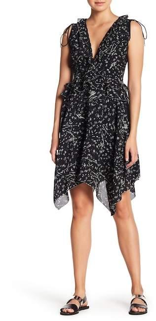 Derek Lam 10 Crosby Ruffle Trim Handkerchief Hem Silk Dress