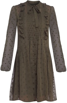 Cliché Reborn Polka Dot Shirt Dress With Frill Detail In Khaki
