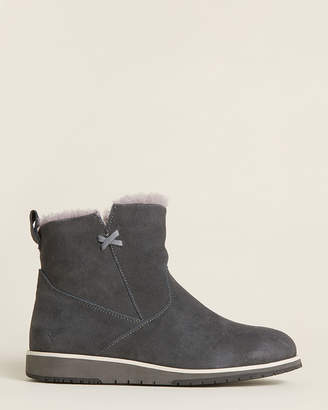Emu Dark Grey Beach Mini Shearling-Lined Suede Boots