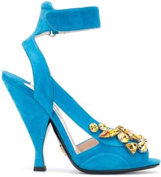 Prada Pre Owned Crystal-Embellished Peep Toe Sandals