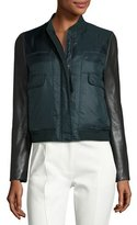 Tory Burch Marly Leather-Sleeve Bomber Puffer Jacket, English Green