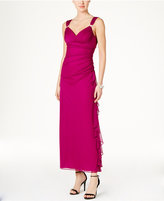 Betsy & Adam B&A by Embellished Ruched Gown