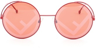 Fendi Runaway Round Sunglasses Metal