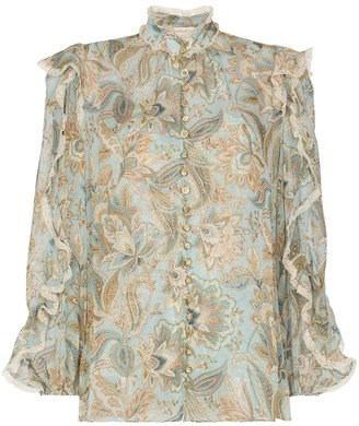 Zimmermann Floral-Print Ruffled Blouse