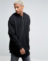 Asos Longline Oversized Hoodie With Double Layer Waffle Sleeves