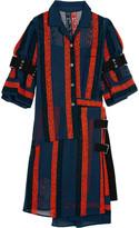 Sacai Macramé lace-paneled cotton-blend chiffon dress
