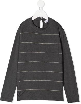 BRUNELLO CUCINELLI KIDS Monili Stripe Long-Sleeved Top