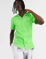 Criminal Damage revere collar shirt in neon green