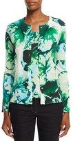 Escada Long-Sleeve Leaf-Print Cardigan, Multi/Green