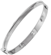 SHAY Octagon Diamond Bullet Bangle Bracelet - White Gold