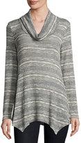 Bobeau Cowl-Neck Striped Knit Top, Gray