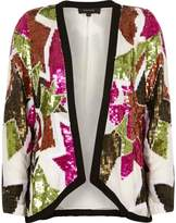 River Island Womens White sequin embellished trophy jacket