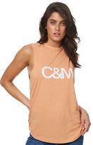 Camilla And Marc New Women's Classic Logo Tank Crew Neck Cotton Orange