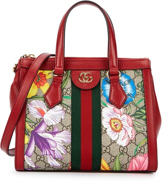 Gucci Ophidia Flora Small Leather Top Handle Bag