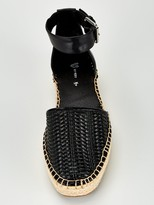 Very Maegan 2 Part Ankle Strap Flat Espadrilles - Black