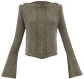 Balmain Fluted-sleeve Metallic Sweater - Womens - Khaki