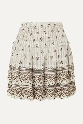 Isabel Marant Andora Tiered Embellished Printed Cotton-gauze Mini Skirt - White