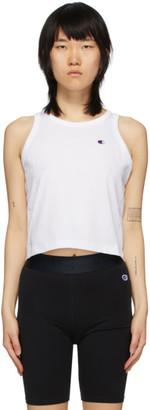 Champion Reverse Weave White Cropped Logo Tank Top