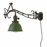 Rejuvenation Brass Faries No.7 Articulated Wall Lamp w/Reflector c1920