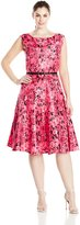 Julian Taylor Women's Plus-Size Floral Print Dress with Belt, Coral/Black