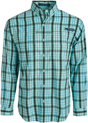 Columbia Men Pfg Super Tamiami Grid Pattern Shirt