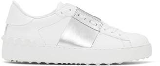 Valentino White and Silver Garavani Open Sneakers