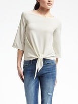 Banana Republic Tie-Front Crepe Top