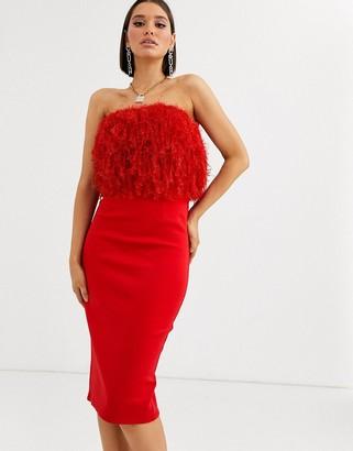 Asos Design DESIGN faux feather top bandeau midi dress-Red