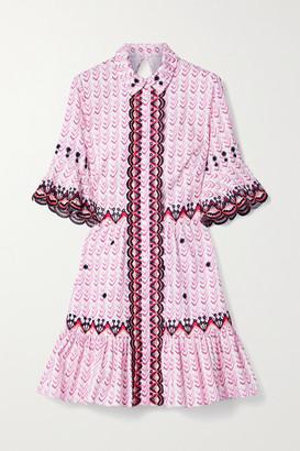 Temperley London Poet Embroidered Printed Cotton-poplin Mini Dress - Pink