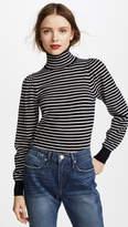 Rebecca Taylor Stripe Rib Turtleneck Pullover