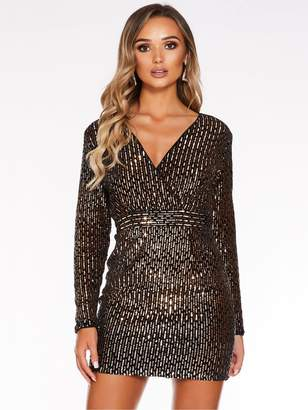 Quiz Black Velvet Rose Gold Sequin L/s Cross Over Front Dress