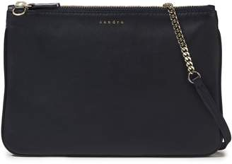 Sandro Chain-trimmed Leather Clutch