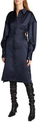 Proenza Schouler Satin Cutout Button-Down Shirtdress