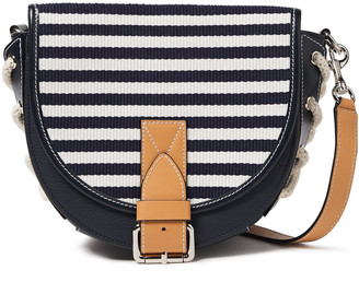 J.W.Anderson Bike Small Lace-up Striped Canvas-paneled Textured-leather Shoulder Bag