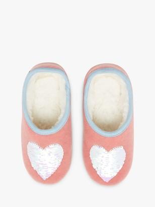Joules Little Joule Children's Heart Mule Slippets, Pink