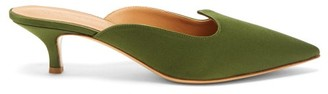 Le Monde Beryl - Pointed-vamp Satin Mules - Green