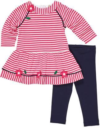 Florence Eiseman Long-Sleeve Stripe Knit Flower Applique Dress w/ Solid Leggings, Size 12-24 Months