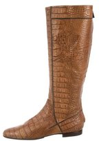 Alberta Ferretti Embossed Leather Knee-High Boots