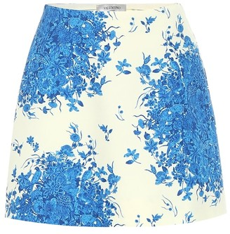 Valentino printed wool and silk miniskirt