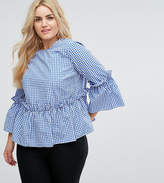 Asos Cotton Ruffle Smock Top In Gingham