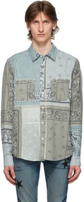 Amiri Green Flannel Bandana Reconstructed Shirt