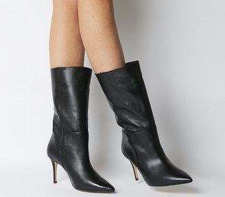 Office Koffee Pointed Calf Boots Black Leather