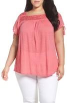 Lucky Brand Plus Size Women's Embellished Yoke Top