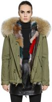 Cotton Canvas Jacket With Fox Fur