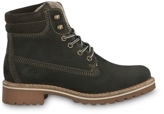 Tamaris Catser Leather Lace-Up Hiking Boots with Chunky Heel