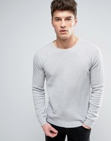 Solid Textured Knit Jumper In Grey