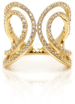 Bourdon White 18K Yellow Gold Ring With White Cz