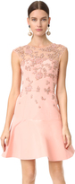 Monique Lhuillier Cap Sleeve Illusion Dress with Embroidery