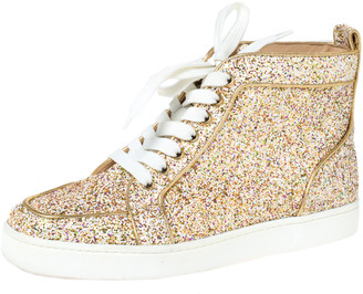 Christian Louboutin Multicolor Glitter Fabric Bip Bip High Top Sneakers Size 39
